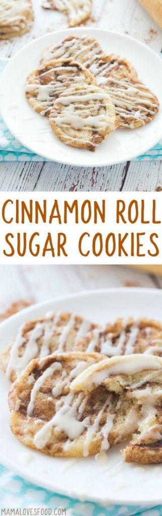 Cinnamon Bun Sugar Cookies with Vanilla Icing