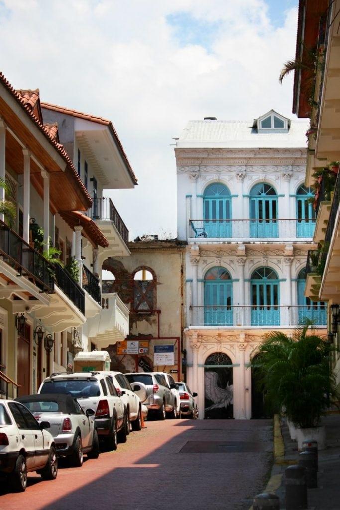 bright turquoise doors in panama city, panama