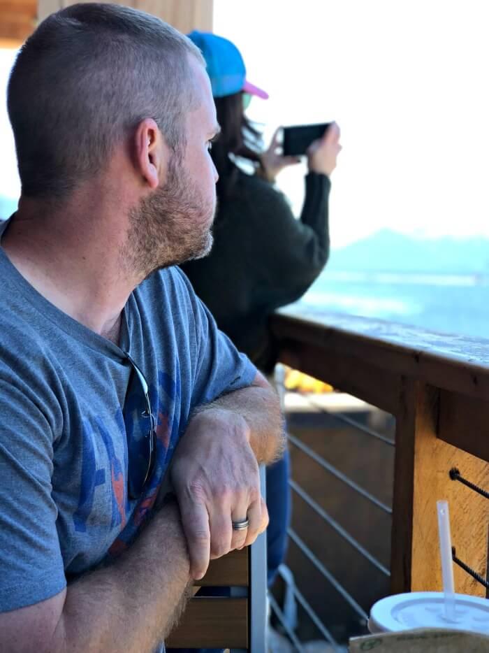 EATING SMOKED SALMON DIP IN ALASKA