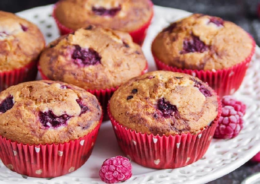 One Bowl Banana Raspberry Muffins