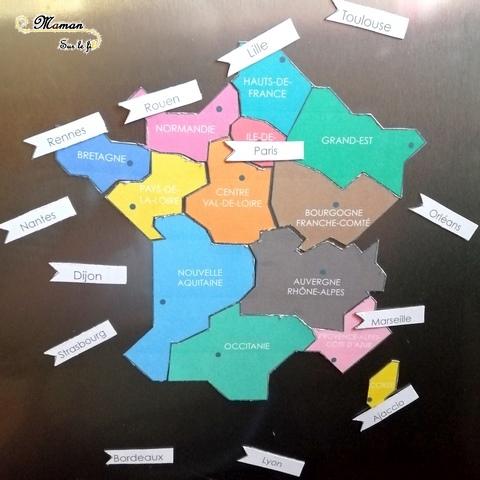 Carte puzzle france magnétique fait maison diy regions chefs-lieux frigo - activité enfants - géographie -mslf-9.jp