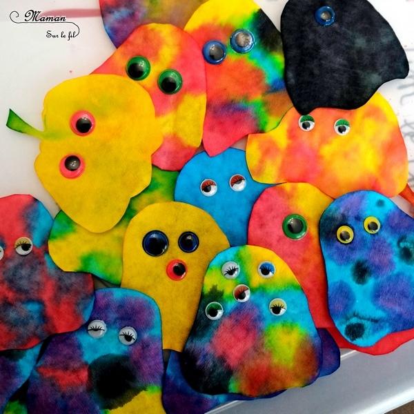 Guirlande Halloween en filtres à café - fantômes et citrouilles encre et pipettes - Couleur et mélange de couleurs - Yeux mobiles - Activité créative enfants - Décoration Halloween - Arts visuels - maternelle - mslf