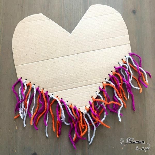 Activité créative enfants - Poncho mexicain en carton et laine collée - Découpage, collage, motricité fine, tissage - Amérique du Nord et Mexique - Laine et Fil - Découverte d'un pays - Espace et géographie - bricolage - arts visuels Cycle 2 et 3 - Eté - mslf