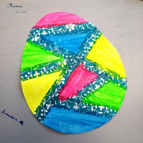 Activité créative enfants - Oeufs de Pâques graphiques et géométriques - Peinture et masking-tape - Géométrie - Utilisation de la règle - Graphisme et écriture - Bricolage de Pâques - Œufs décorés peints -Technique de peinture ludique- Arts visuels maternelle et cycle 2 - Chasse - mslf