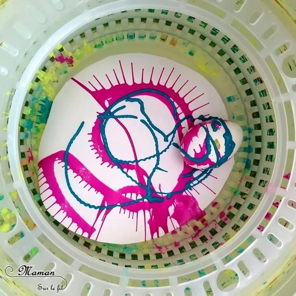 Activité créative enfants - Œufs de Pâques à essoreuse à salade - Peinture - Gommettes Bonhommes - Bricolage de Pâques - Œufs décorés peints -Technique de peinture ludique - mélange des couleurs - marbrée - Arts visuels maternelle - Chasse - mslf