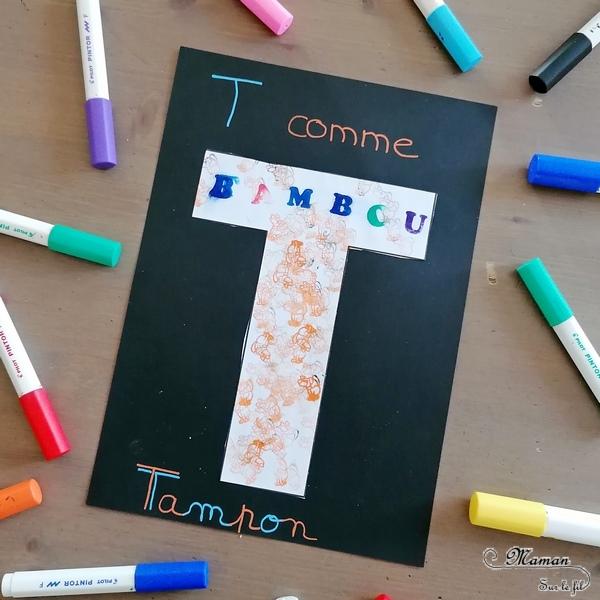 Abécédaire créatif - T comme Totem Toupie et Tampon - activité manuelle enfants - dessin, coloriage, motricité fine, technique peinture avec encre et toupie, tampons - - apprentissage lettres alphabet - maternelle - Alphabets lettres creuses gratuit - créative - Amérique du Nord - Amérindiens - Indiens - mslf