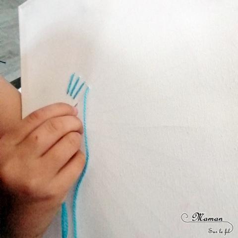 Activité créative enfants - Eventail japonais brodé sur toile - Broderie avec laine fine ou fil - Motricité fine - Réalisation d'un tableau - Géométrie - cercle et angles pour dessiner l'éventail - Créativité - Asie et Japon - Découverte d'un pays - Espace et géographie - arts visuels et atelier maternelle et Cycles 1, 2 et 3 - mslf