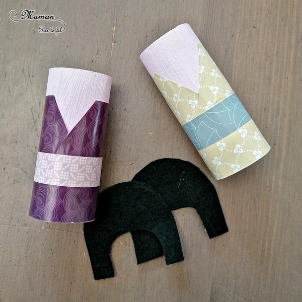 Activité créative enfants - Fabriquer des poupées Kokeshi japonaises avec des rouleaux de papier toilettes, de la feutrine, de la peinture et des papiers à motifs - Bricolage avec rouleau de PQ en carton - Créativité - Découverte de l'Asie et du Japon - Découverte d'un pays - Espace et géographie - arts visuels et atelier maternelle et Cycle 1 et 2 - mslf
