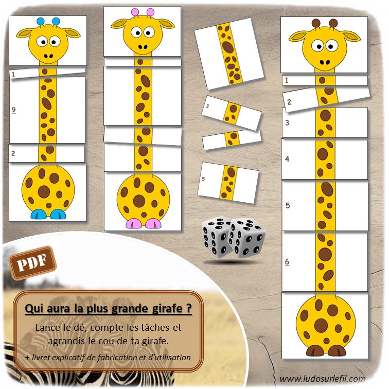 Jeu à imprimer - Qui aura la plus grande girafe - Lance le dé, compte les points et agrandis le cou de ta girafe avec le bon nombre de tâches - Jeu de dénombrement et de mathématiques - Travail sur les longueurs - Différentes représentation des chiffres - Additions et dénombrement jusqu'à 12 - Maternelle et Cycle 2 - Boutique en ligne de jeux à télécharger et à imprimer - Fichier PDF - Ludo sur le fil