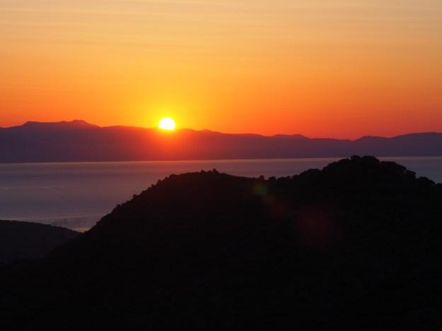 coucher du soleil en Grèce