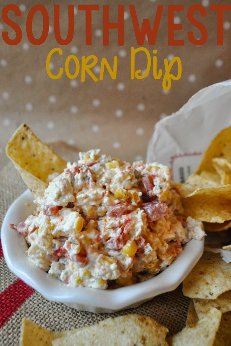 This southwestern corn dip is delicious and easy-- only 4 ingredients and a few minutes to make! It's perfect for those last-minute party invitations!
