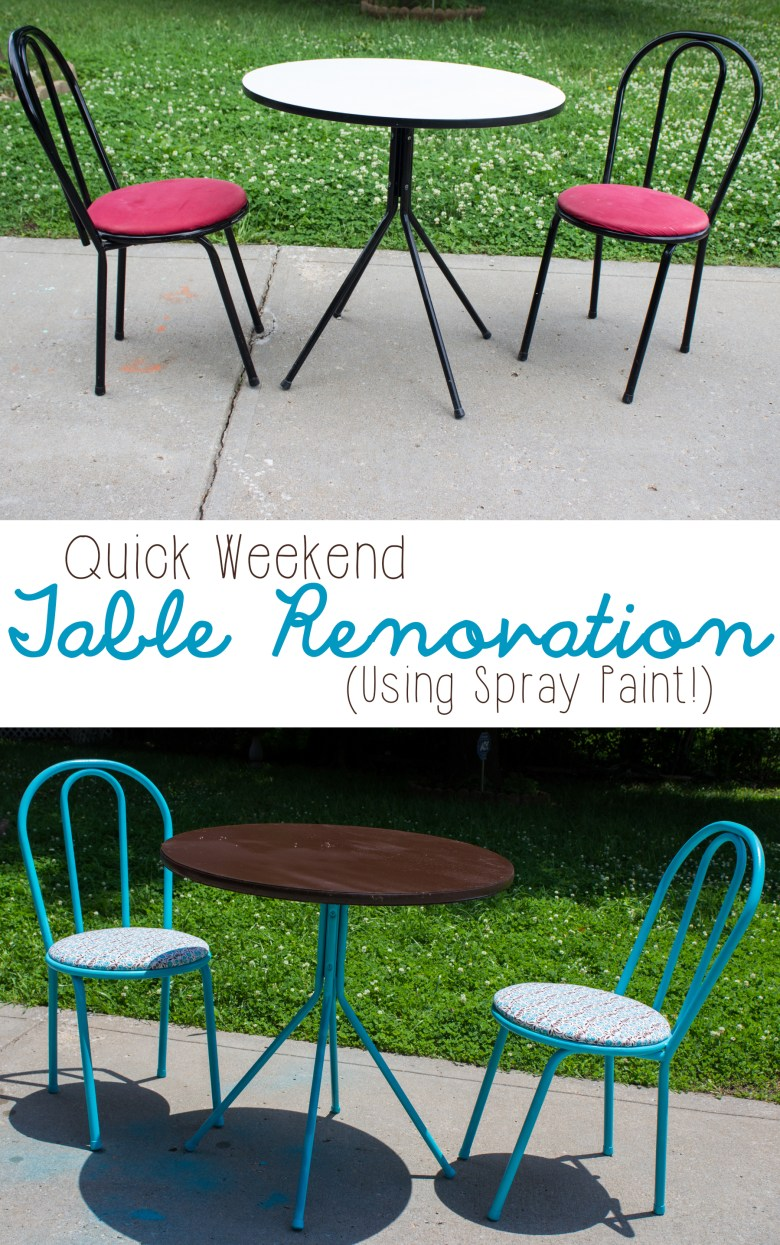 Looking for a quick renovation to totally upgrade your style? Check out this weekend DIY that was achieved with spray paint! It's like a whole new table!   | DIY Furniture Renovation | Table Makeover |