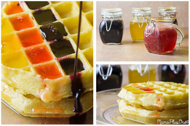 Hello, morning. These fruit flavored syrups are infused with REAL fruit, making them delicious and colorful for waffles and pancakes in the mornings! They're super simple to make and you can even refrigerate them for a few weeks for using anytime. If you love the flavored syrups at IHOP or other restaurants, you'll love this.