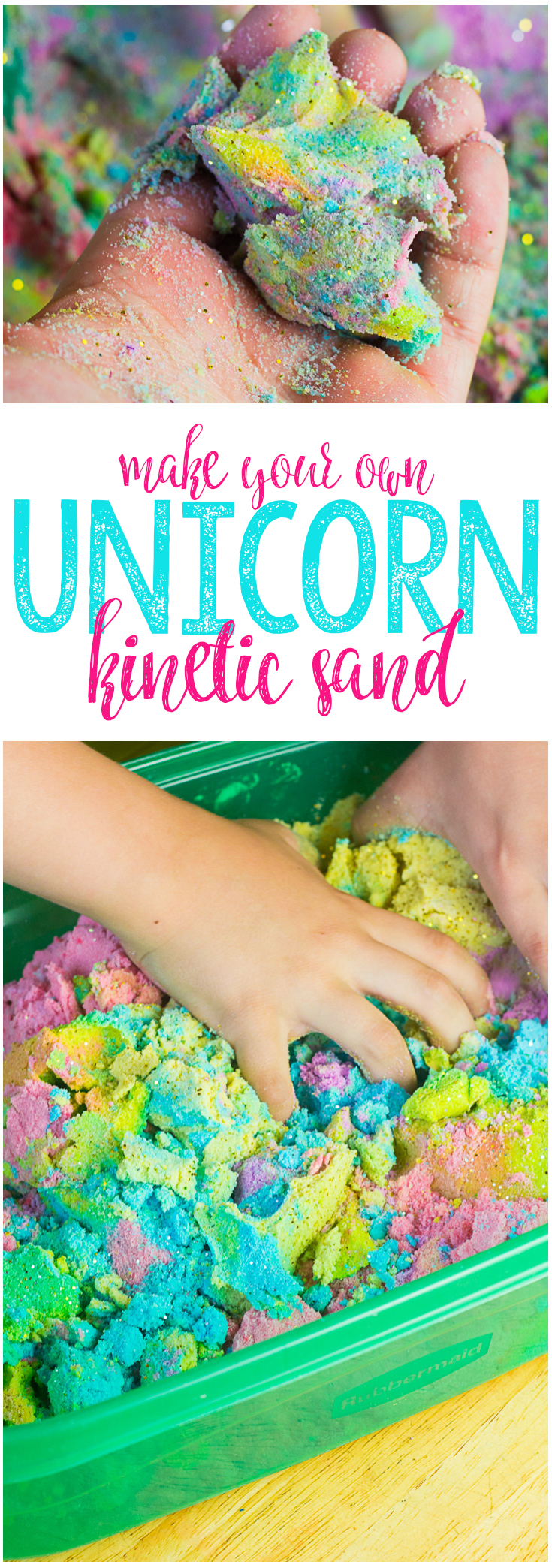 DIY Unicorn Sand! Cute and easy kids craft idea! #diy #kidscraft #unicorndiy #unicorn #unicorntheme #unicorncraft