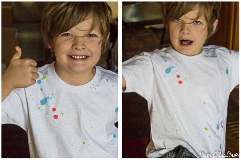 When kids grow way too fast, it's impossible to keep up with buying tee shirts to reflect the latest trends. Get this easy, on-trend speckled look with this DIY tee shirt, then keep it clean with the affordable Member's Mark Laundry Detergent. #MembersMarkDetergent [ad]