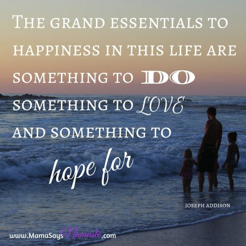 The grand essentials to happiness in this life are something to do, something to love, and something to hope for.