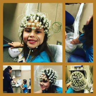 Ellie rockin her EEG cap to measure brainwaves while she looked at pictures in the study