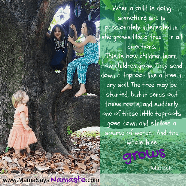 When a child is doing something she is passionately interested in, she grows like a tree-in all directions.