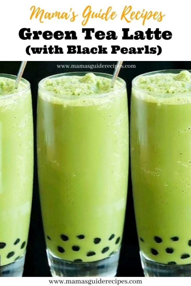 Green Tea Latte (with Black Pearls)