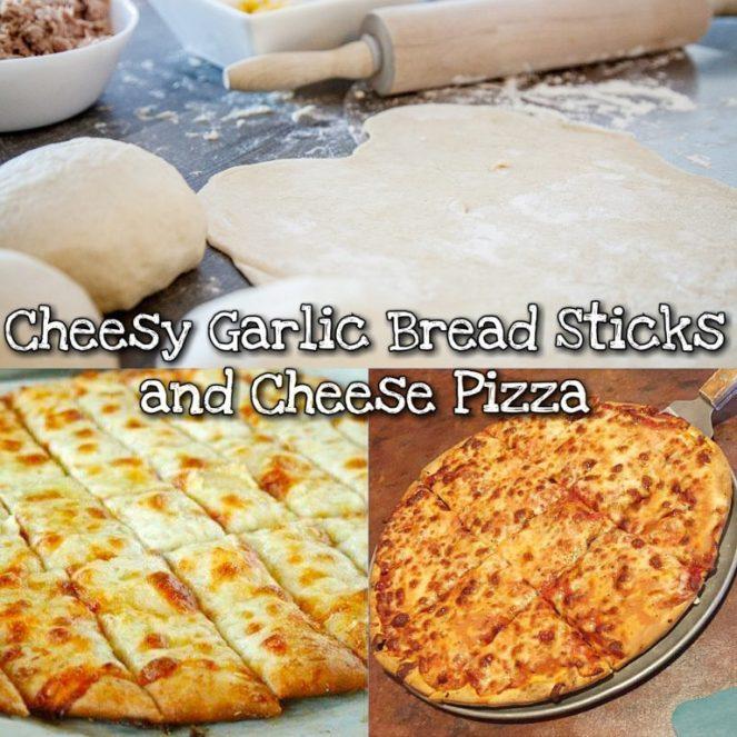 Cheesy Garlic Bread Stick and Cheese Pizza