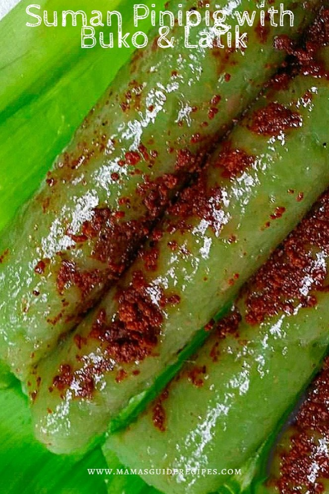 SUMAN PINIPIG WITH BUKO AND LATIK, SUMAN PINIPIG WITH BUKO AND LATIK RECIPE, suman recipe, suman pinipig recipe, bulacan delicacy