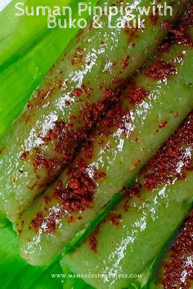 SUMAN PINIPIG WITH BUKO AND LATIK, SUMAN PINIPIG WITH BUKO ANDLATIK RECIPE, suman recipe, suman pinipig recipe, bulacan delicacy