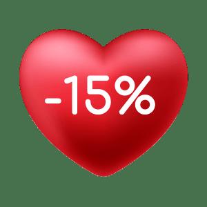 Cuore con 15% di sconto