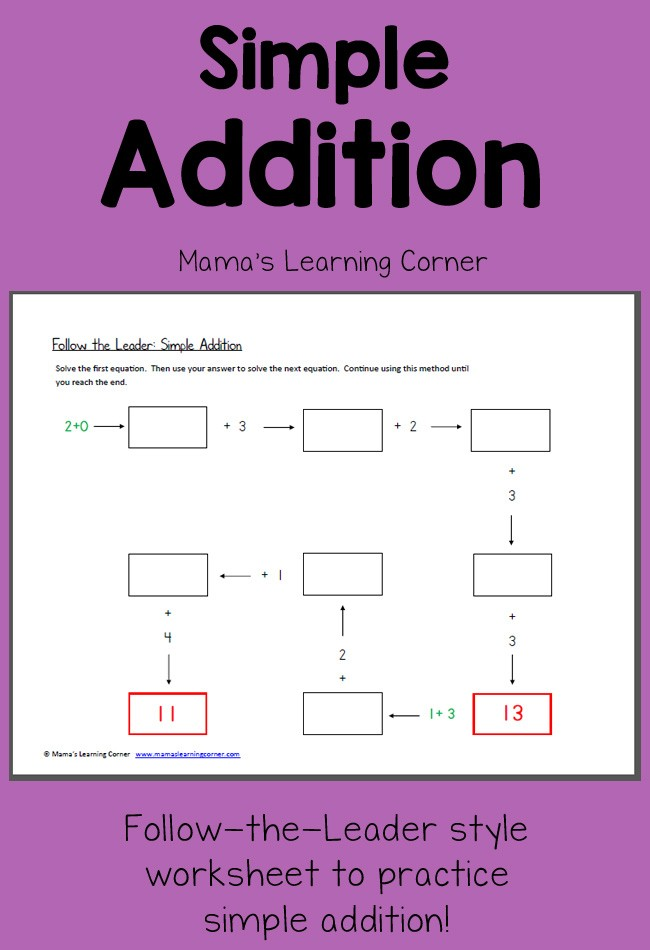 Simple Addition Worksheet Follow the Leader