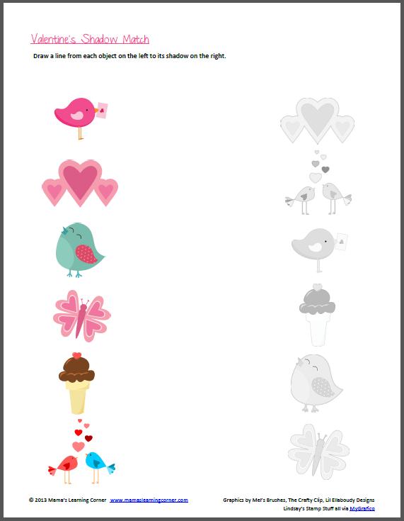 Valentine's Day Worksheet: Shadow Matching