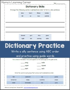 Dictionary Skills Worksheet