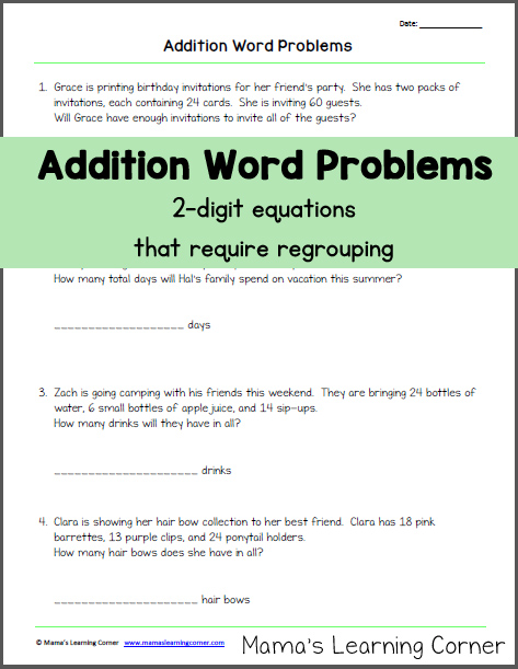 addition word problems with regrouping mamas learning corner. Black Bedroom Furniture Sets. Home Design Ideas