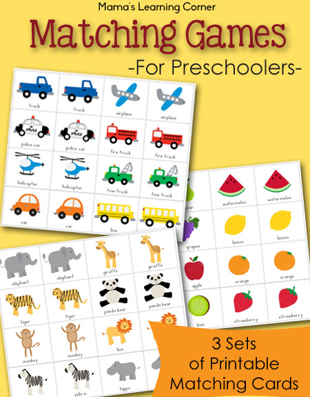 Free Printable Match Game Packet - Mamas Learning Corner
