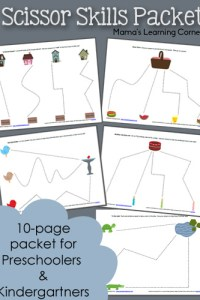 10-Page Scissor Skills Packet for Preschool