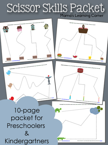 10-page packet of Preschool Scissor Skills