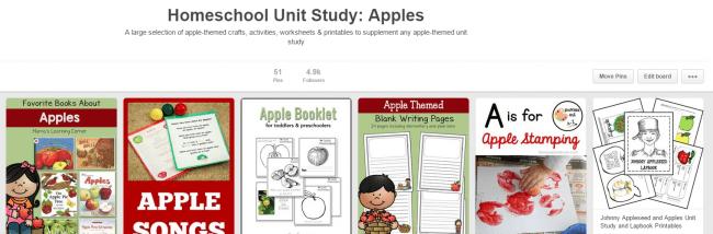 Pinterest Board: Unit Study on Apples