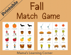 Fall Match Game for Preschoolers and Early Kindergartners