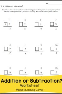 Is it Addition or Subtraction? Math Worksheet