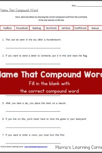 Name That Compound Word Worksheet