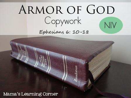 Armor of God Copywork