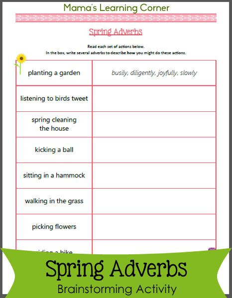 Spring Adverbs Worksheet