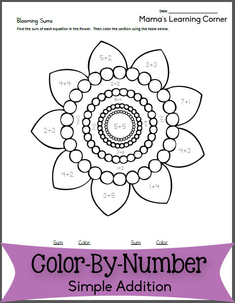Free Color By Number Addition: Blooming Sums