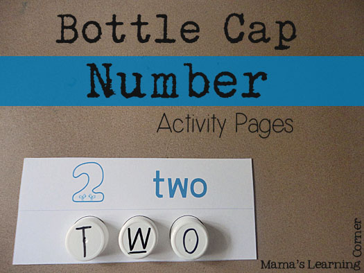 Bottle Cap Number Activity Pages