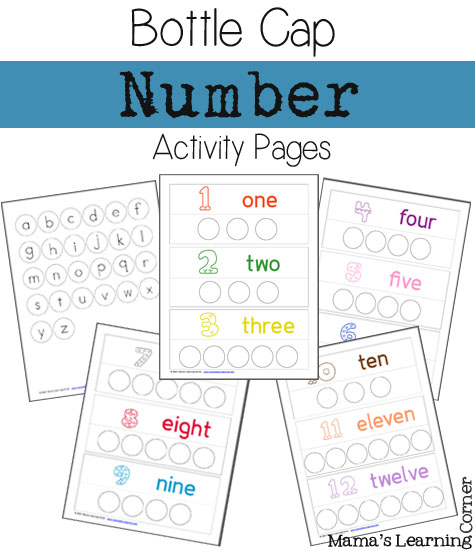 Bottle Cap Number Pages 1 through 12