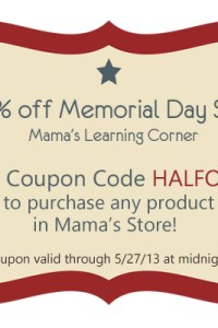 50% off Memorial Day Sale in Mama's Shop!