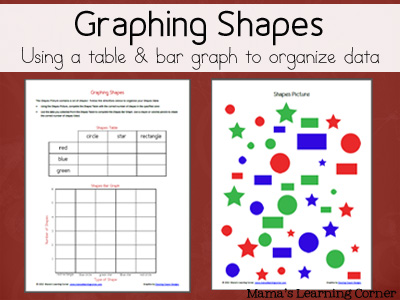 Graphing Shapes - Using a table and bar graph to organize data (for 2nd Graders)