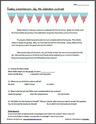 Reading Comprehension: July 4th Celebration Cookout