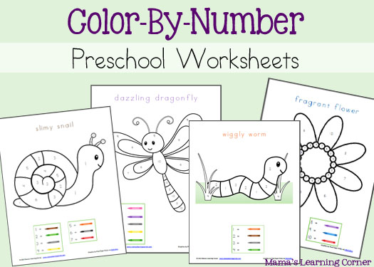 color by number preschool worksheets mamas learning corner. Black Bedroom Furniture Sets. Home Design Ideas