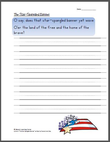 The Star Spangled Banner Copywork