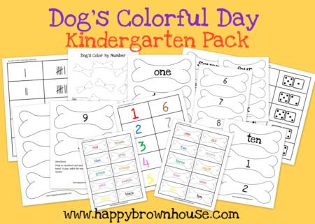 Dog's Colorful Day Printables for Kindergartners