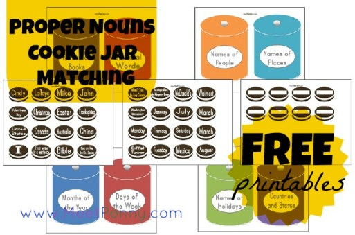 Proper Nouns Cookie Jar Printables